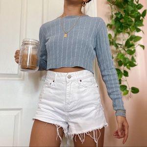 Silk Blue Cropped Sweater